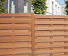 Gartenzaun WPC in bangkirai, 179x179cm - Sichtschutz, Sichtschutz Elemente, Sichtschutzwand, Windschutz
