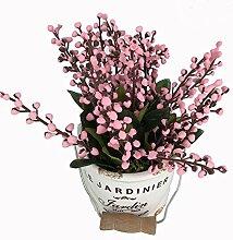 Garwarm Mini Bunt Lebensechtes Natürliches Modernes Design als Dekorative Künstliche Topfblume Pflanze mit Keramik Pflanztöpfe als Heim- und Büro-Deko