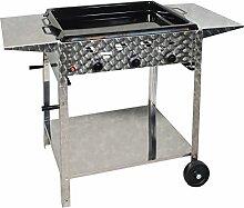 Gasbräter 12 kW fahrbar mit emaillierter Stahlpfanne und Abstellplatten 3-flammig Gasgrill Grill Gastrobräter Profigrill Verein