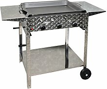 Gasbräter 12 kW fahrbar mit Stahlpfanne 3-flammig Gasgrill Grill Gastrobräter Profigrill Verein und Abstellplatten