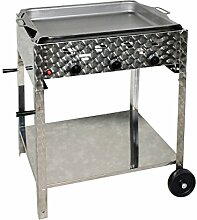 Gasbräter 12 kW fahrbar mit Stahlpfanne 3-flammig Gasgrill Grill Gastrobräter Profigrill Verein