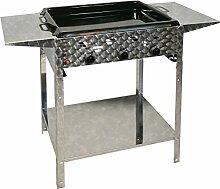 Gasbräter 12 kW Standmodell mit emaillierte Stahlpfanne und Abstellplatten 3-flammig Gasgrill Grill Gastrobräter Profigrill Verein