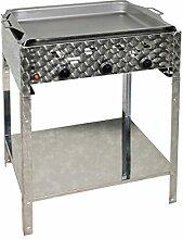 Gasbräter 12 kW Standmodell mit Stahlpfanne und 3-flammig Gasgrill Grill Gastrobräter Profigrill Verein