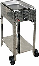 Gasbräter 4 kW fahrbar mit Stahlpfanne 1-flammig Gasgrill Grill Gastrobräter Profigrill Verein