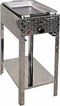 Gasbräter 4 kW Standmodell mit Stahlpfanne 1-flammig Gasgrill Grill Gastrobräter Profigrill Verein