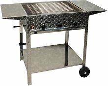 Gasgrill 12 kW fahrbar mit Abstellplatten 3-flammig Gasgrill Grill Gastrobräter Profigrill Verein
