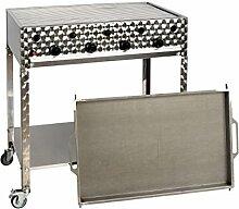 Gasgrill-Kombibräter 4-flammig (16 kW) mit Grillrost und Stahlpfanne, fahrbar Gasgrill Gasbräter Grill