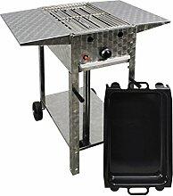 Gasgrill-Kombibräter 4 kW fahrbar mit Grillrost,