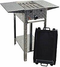 Gasgrill-Kombibräter 4 kW Standmodell mit Grillrost, emaillierter Stahlpfanne... 1-flammig Gasgrill Grill Gastrobräter Profigrill Verein