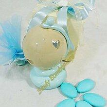 Gastgeschenk Taufe Globus Blau mit Licht LED weiß