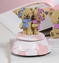 Gastgeschenk Taufe Spieluhr Paar Bären, 11,5cm