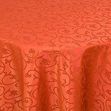 Gastro Barock Tafeldecke Rund 170 cm Dunkelterra - mit Saumrand - Farbe wählbar - Tischdecke