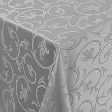 Gastro Barock Tischdecke Eckig 130x250 cm Grau /