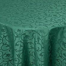 Gastro Barock Tischdecke Oval 160x220 cm Dunkelgrün / Grün - mit Saumrand - Farbe & Größe wählbar