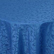 Gastro Barock Tischdecke Rund 220 cm Dunkelblau / Blau - mit Saumrand - Farbe & Größe wählbar