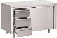 Gastro M Arbeitstisch mit 3 Schubladen und