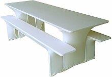 Gastro Uzal Biertischussen, Festzeltgarnitur Hussen Stretch Set weiß 50x220 cm, Biertischhussen Stretch, Bierzeltgarnitur Hussen