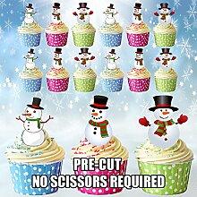 Gâteau de Noël Snowman Bonhomme de neige de 12 décorations comestibles pour gâteaux -