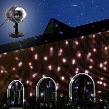 GAXmi Schnee fällt Licht Weihnachten Weiß Schneeflurries LED Projektorleuchten Drehen Scheinwerfer zum Hochzeit Geburtstag Silvester Draussen Drinnen Landschaft Dekoration