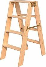 GAXQFEI Holz 4 Stufen Leiter Massivholz Leiter