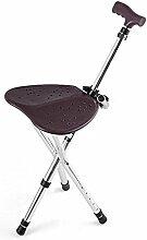 "GAYY Portable Led Walking Stuhl Sitz (Cane / Hocker) Crutch Hocker Ã""lteres Falten Stativ Falten,Braun"