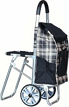 GAYY Warenkorb Seat Grocery Faltbarer Durable Trolley Dolly (Gitter Stil) Lager 40 Kg,Schwarz