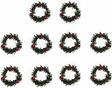 Gazechimp 10x mini Hängende Weihnachtskranz Kranz Beere Verzierung Dekoration