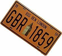 Gazechimp 15x30cm Digital Nummernschilder Autokennzeichen Design , Vintage Metall Blechschilder Bar Haus Tür Deko - Nummern 8, 15x30cm