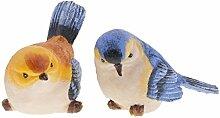 Gazechimp 2 Stück lebensecht Vogel Figur Modell Dekoration für Garten Haus Schreibtisch Zimmer - Blau + Orange