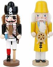 Gazechimp 2pcs Handgemalte Nussknacker Figuren Holzpupen Dekofiguren Dekoration für Weihnachten Party