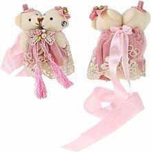 Gazechimp 2x Klein Bären form Tür Gardien Vorhang Halter Zugband Klemmhaken Verschlussschnalle Dekor Accessoire - Rosa