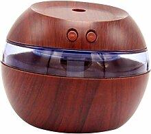 Gazechimp 300ml LED Ultraschall Luftbefeuchter Aroma Diffusor, Müdigkeit zu Entlasten und Schlafen zu helfen, 3-in-1 - Braunes Holz