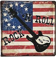 Gazechimp 30x30cm Modern Metall Blechschilder Flur Cafe Bar Pub Club Wand Dekoration - Rock Roll, 300 * 300mm