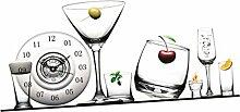 Gazechimp 3D Wanduhr Küchenuhr Aufkleber Uhr, Vintage Wandeko für Wohnzimmer - Glas
