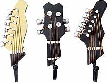 Gazechimp 3er / Set Vintage Gitarre Kopf Modell Kleiderhaken Huthaken - Mantelhaken Haken Mantelhaken - Harz + Metall - Praktische Dekoration