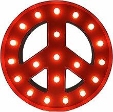 Gazechimp 3V 40W Rot Alphabet LED Licht Leuchten Gartenleuchte Hochzeit Weihnachten Garten Partei Bar Deko - Friedenszeichen