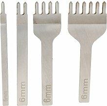 Gazechimp 4 Stück / Set Leder Handwerk Zink Stitching Werkzeuge Loch Stanzwerkzeuge Set - wie bild, 6mm
