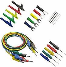 Gazechimp 5 stück Silikon Multimeter Bananenstecker Test Kabel mit Krokodilklemme und 20x Prüfspitzen Se