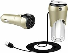 Gazechimp 50ml Auto Luftbefeuchter Aroma Öl Diffusor mit 12V Kfz-Ladegerät USB - Gold