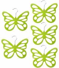 Gazechimp 5x Schmetterling Design , Platzsparend Schalhalter Tuchbügel Schalbügel Kravattenbügel Kunststoff - Grün