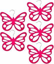 Gazechimp 5x Schmetterling Design , Platzsparend Schalhalter Tuchbügel Schalbügel Kravattenbügel Kunststoff - Rose Ro