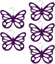 Gazechimp 5x Schmetterling Design , Platzsparend Schalhalter Tuchbügel Schalbügel Kravattenbügel Kunststoff - Lila