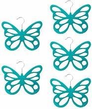 Gazechimp 5x Schmetterling Design , Platzsparend Schalhalter Tuchbügel Schalbügel Kravattenbügel Kunststoff - Blau