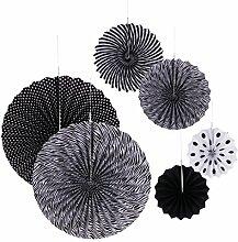 Gazechimp 6er Set Tissue Papier Fans Fächer Dekoration für Party Feier Hochzeit Geburtstag Kombination - Schwarz, One Size