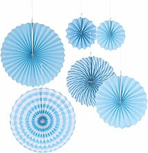 Gazechimp 6er Set Tissue Papier Fans Fächer Dekoration für Party Feier Hochzeit Geburtstag Kombination - Blau, One Size