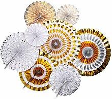 Gazechimp 8pcs / Set Glitter Papier Pinwheel Tissue Papier Fans Fächer Dekoration für Party Feier Hochzeit Geburtstag - Gold 2, 20cm
