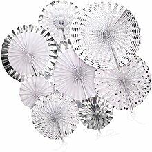 Gazechimp 8pcs / Set Glitter Papier Pinwheel Tissue Papier Fans Fächer Dekoration für Party Feier Hochzeit Geburtstag - Silber 2, 20cm