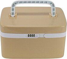 Gazechimp Aufbewahrungskoffer Zahlenschloss Storage Box mit Trennwand Schmuckschatulle Kosmetikkoffer Erste-Hilfe-Kasten - Braun