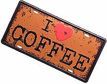 Gazechimp Autokennzeichen Design , Metall Blechschild Blech Schilder Wand Cafe Bar Dekor - Kaffee, 15 x 30 cm
