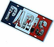 Gazechimp Autokennzeichen Design , Metall Blechschild Blech Schilder Wand Cafe Bar Dekor - Paris, 15 x 30 cm